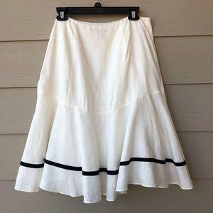 LRL Lauren Ralph Lauren100%Linen Cream Flare Skirt